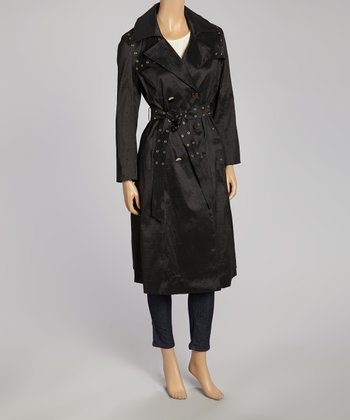 Charcoal Grommet Trench Coat - Women & Plus