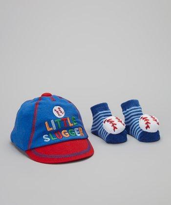Baby Essentials Blue & Red 'Little Slugger' Baseball Cap & Socks