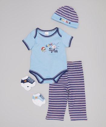Baby Essentials Blue & White 'Grand Slam' Bodysuit Set - Infant