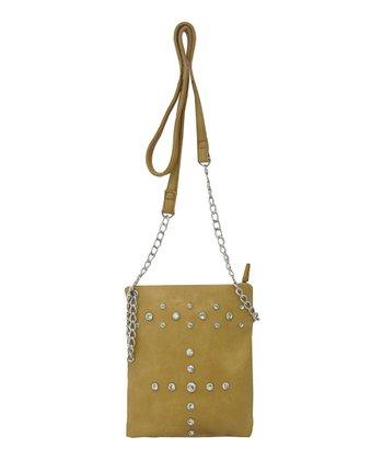 Beige Rhinestone Crossbody Bag