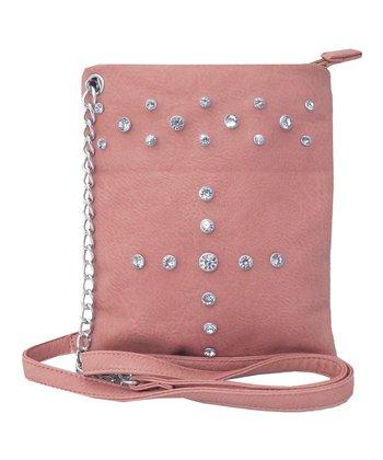 Dusty Pink Rhinestone Crossbody Bag