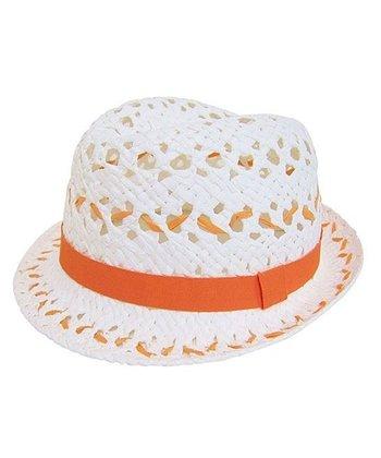 White & Orange Open-Weave Fedora
