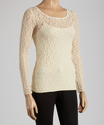 Young Essence Beige Lace Scoop Neck Top