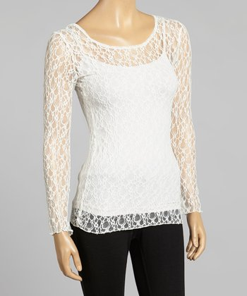 Young Essence White Lace Scoop Neck Top
