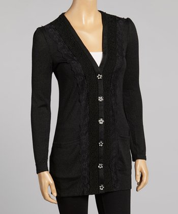 Young Essence Black Floral Lace Cardigan