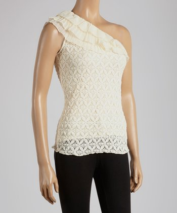 Young Essence Beige Lace Asymmetrical Top