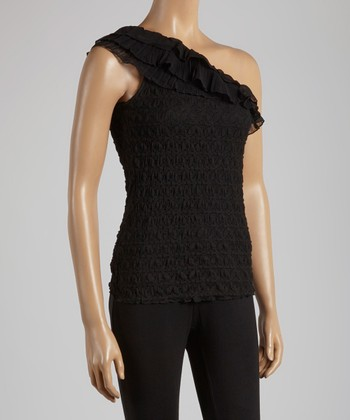 Young Essence Black Lace Asymmetrical Top