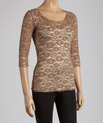 Young Essence Taupe Lace Three-Quarter Sleeve Top