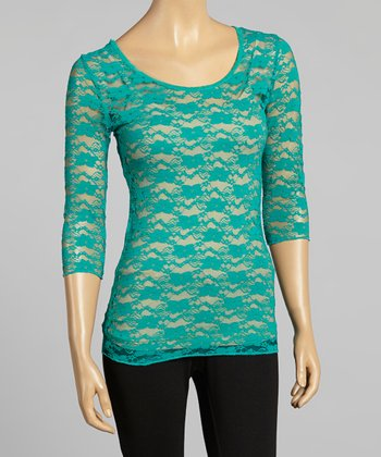 Young Essence Green Lace Three-Quarter Sleeve Top