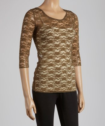 Young Essence Olive Lace Three-Quarter Sleeve Top
