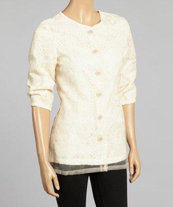 Young Essence Beige Sheer Overlay Jacket