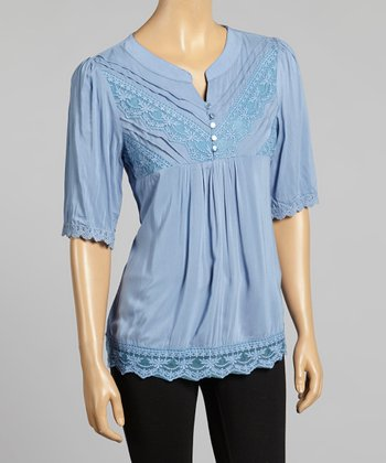 Young Essence Blue Floral Lace V-Neck Top