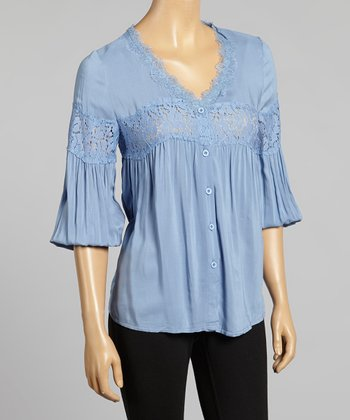 Young Essence Blue Lace Button-Up Top