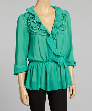 Young Essence Green Rosette V-Neck Top