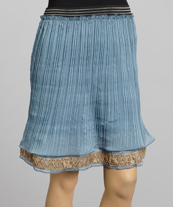 Young Essence Blue Accordion Pleat Trumpet Skirt