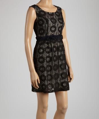 Young Essence Black & Beige Lace Sleeveless Dress