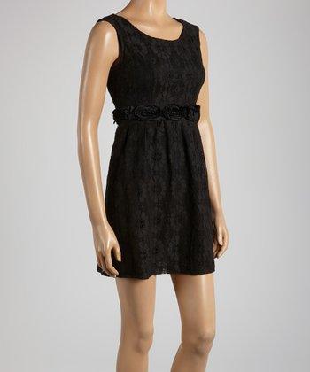 Young Essence Black Lace & Rosette Sleeveless Dress