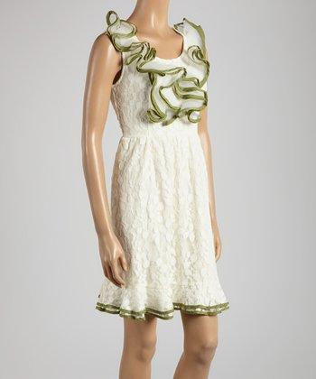 Young Essence Cream & Green Lace Ruffle Sleeveless Dress