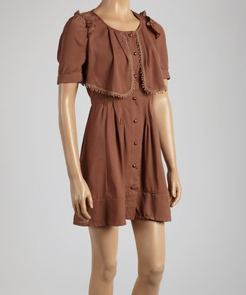 Young Essence Brown Ruffle Button-Up Dress