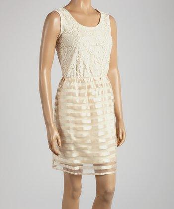Young Essence Beige Stripe Sleeveless Dress