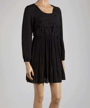 Young Essence Black Lace Scoop Neck Dress