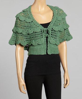 Young Essence Green Scallop Knit Bolero