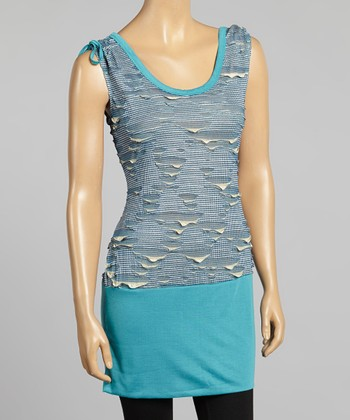 Young Essence Blue Abstract Cap-Sleeve Tunic