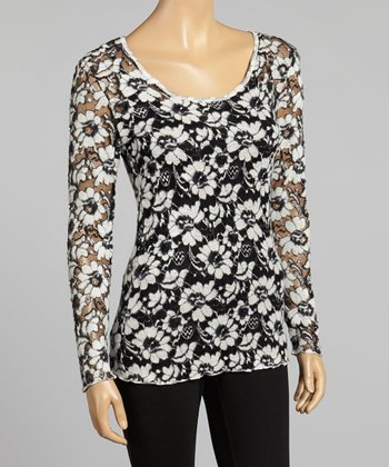 Young Essence Black & White Lace Scoop Neck Top