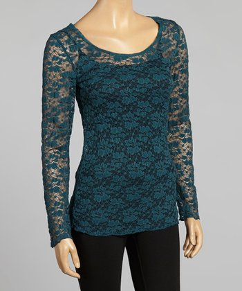 Young Essence Teal Lace Scoop Neck Top
