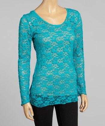 Young Essence Turquoise Lace Scoop Neck Top