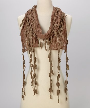 Young Essence Brown Leaf Lace Scarf