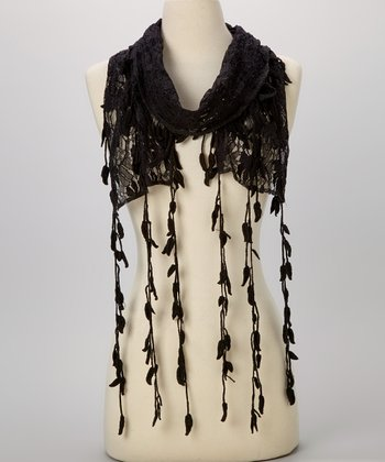 Young Essence Black Leaf Lace Scarf