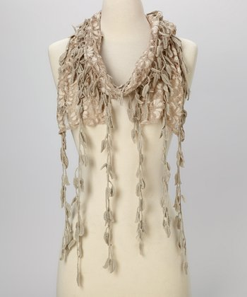 Young Essence Taupe Leaf Lace Scarf