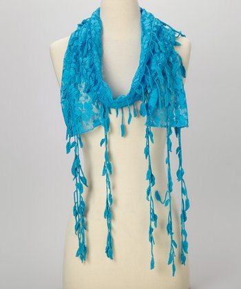 Young Essence Turqoise Leaf Lace Scarf