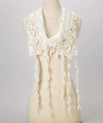Young Essence White Leaf Lace Scarf