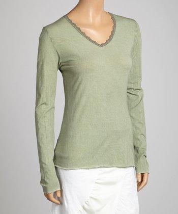 Saga Green Lace V-Neck Top