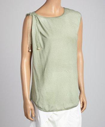 Saga Green & White Lace Tank