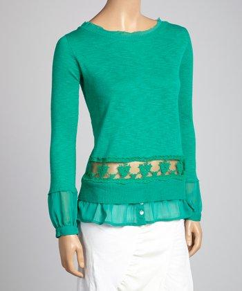 Saga Emerald Lace Ruffle Top
