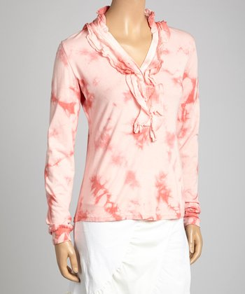 Saga Coral Tie-Dye Ruffle V-Neck Top