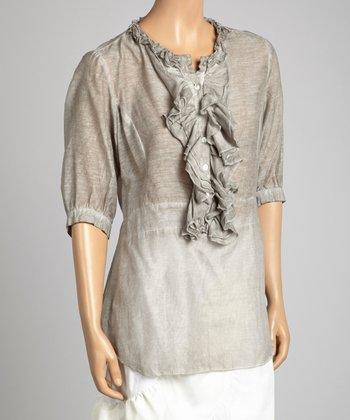 Saga Gray Ruffle Silk-Blend Three-Quarter Sleeve Top