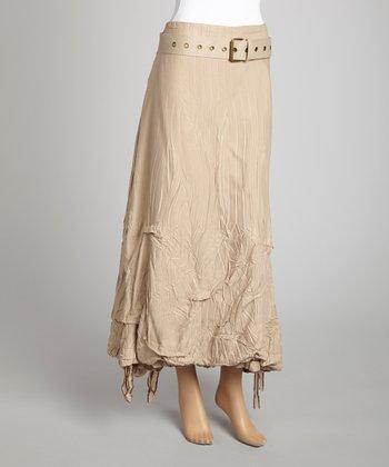 Saga Sand Stripe Belted Midi Skirt