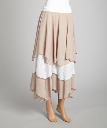 Saga Khaki & White Ruffle Midi Skirt