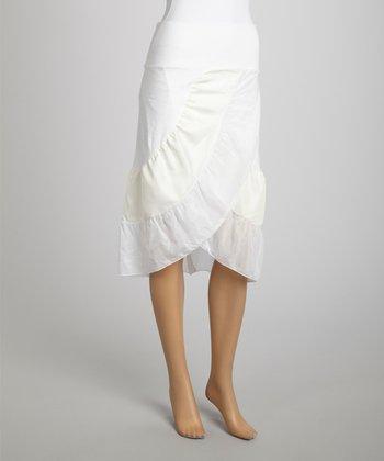 Saga White & Beige Ruffle Silk-Blend Tulip Skirt