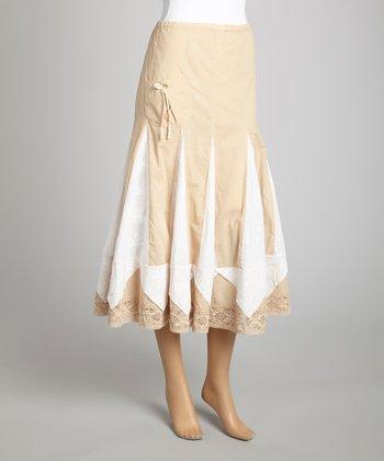 Saga Beige & White Ruffle Midi Skirt