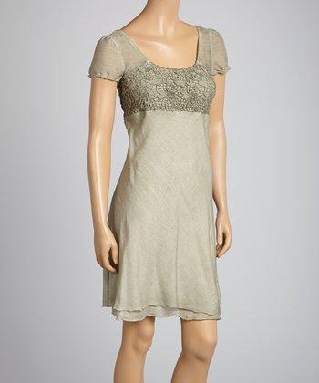 Saga Gray & Charcoal Lace Silk-Blend Square Neck Dress