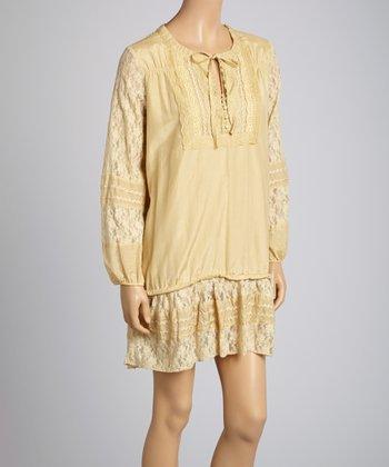 Saga Beige Lace Silk-Blend Peasant Dress