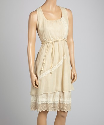 Saga Sand Lace Sleeveless Dress