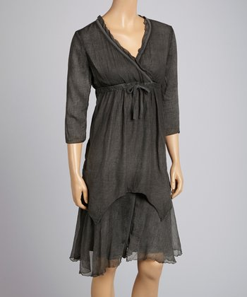 Saga Black Lace Tiered Three-Quarter Sleeve Dress