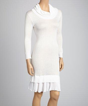 Saga White Cowl Neck Dress