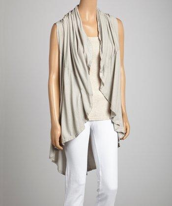 Saga Sand Silk-Blend Drape Vest